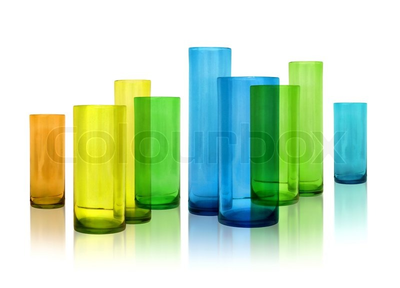 Modern Color Glass Vases Row On White Reflective Background Stock