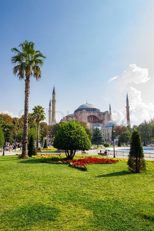 Editorial image of 'ISTANBUL - AUGUST 18: Sultanahmet Park on August 18, 2015 in Istanbul. Sultanahmet Park is historic district of Istanbul near the Blue Mosque and Hagia Sophia Museum, it is a popular area among tourists'