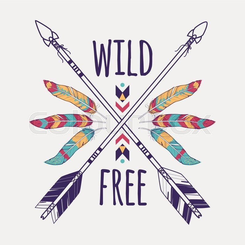 Vector Colorful Illustration With Crossed Ethnic Arrows Feathers And Tribal Ornament Boho Hippie Style American Indian Motifs Wild Free Poster