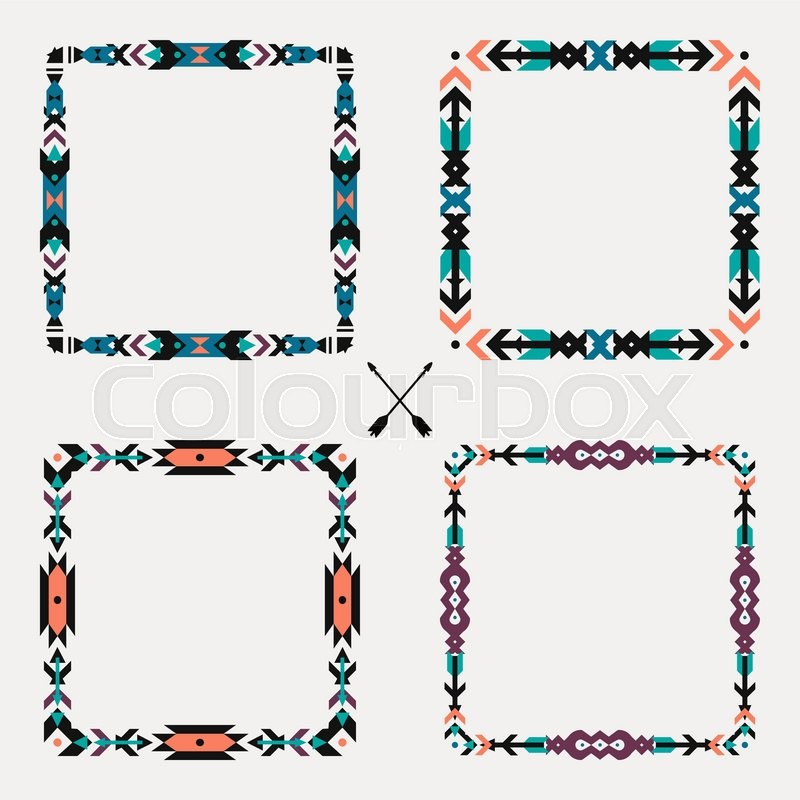 Vector set with abstract geometric ethnic frames. Tribal graphic ...