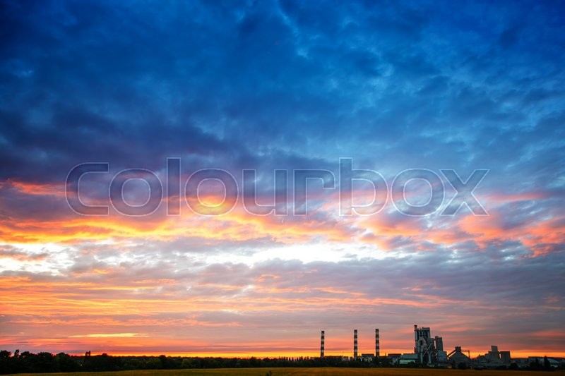 Stock image of 'clouds sky pipe factory outside the landscape background'