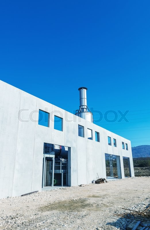 Stock image of 'Construction site with rotary kiln.'