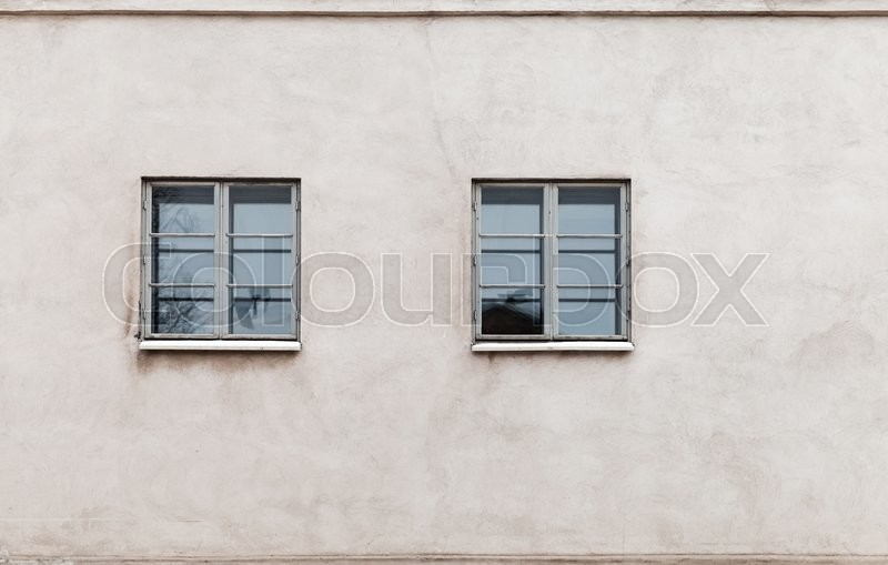 Stock image of 'Two windows in modern gray concrete wall, detailed background photo texture'