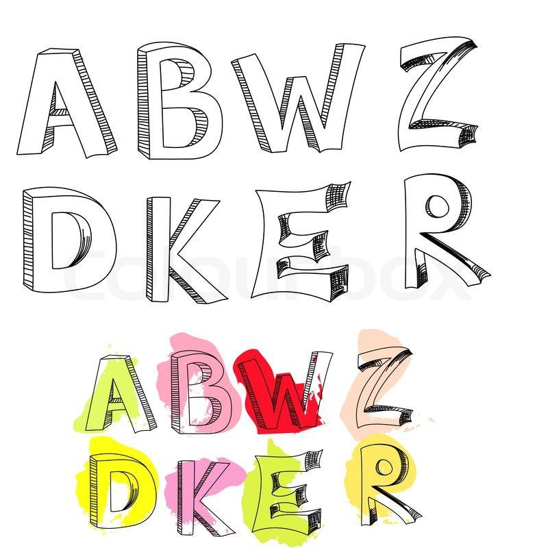 Buchstaben a, b, w, Z, d, k, E, R   Vektorgrafik   Colourbox