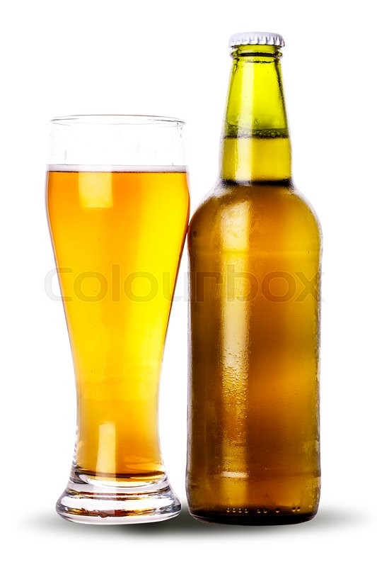 Stock image of 'glass bottle of beer Isolated on white background Clipping Path'