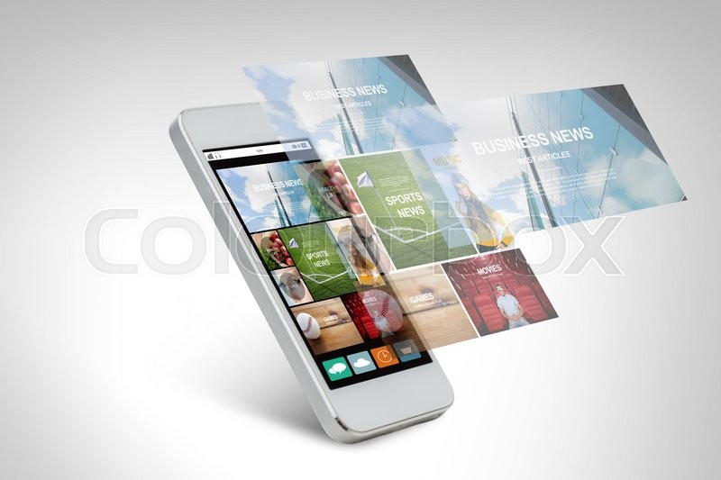 Stock image of 'technology, business, electronics, internet  and media concept - white smarthphone with news web page and application icons on screen'