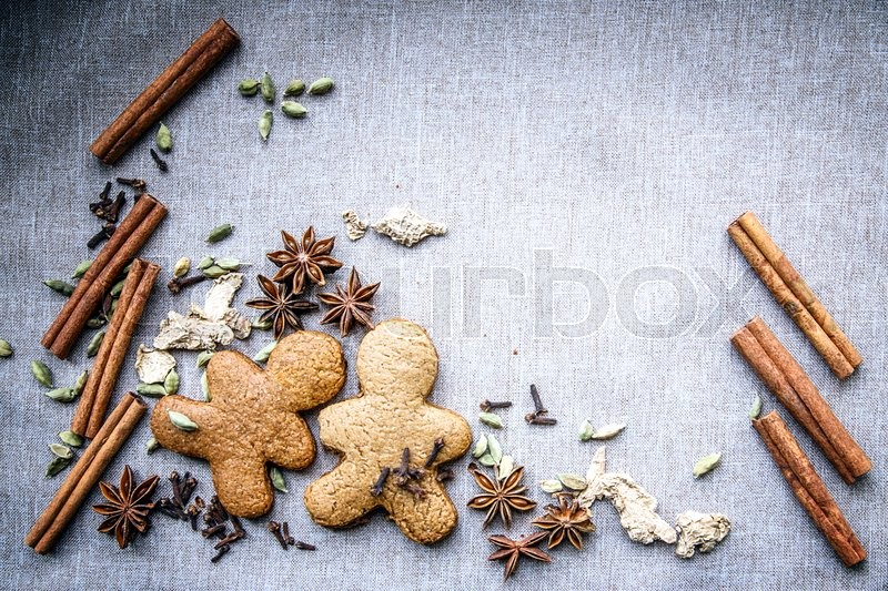 Stock image of 'biscuit star anise Cardamom nutmeg cinnamon ginger clove spice canvas'