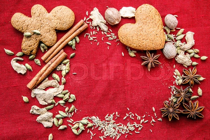 Stock image of 'cookies spice canvas star anise, nutmeg, cardamom, cinnamon, ginger, cloves'