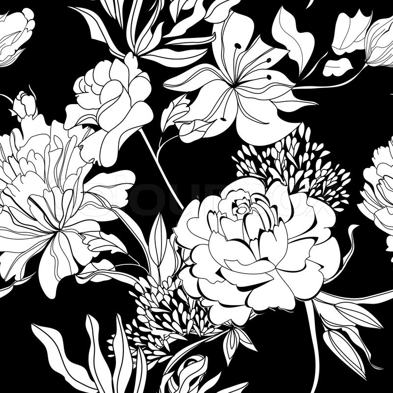 Decorative seamless wallpaper with white flowers on black ...