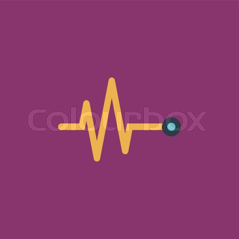 Life Line Heart Beat Cardiogram Colorful Vector Icon Simple