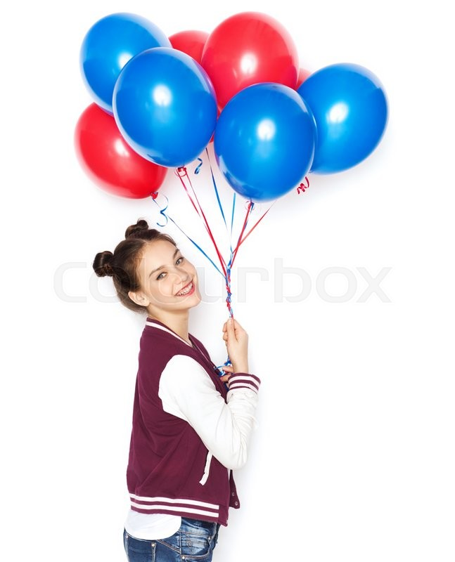 Stock image of 'people, teens, holidays and party concept - happy smiling pretty teenage girl with helium balloons'