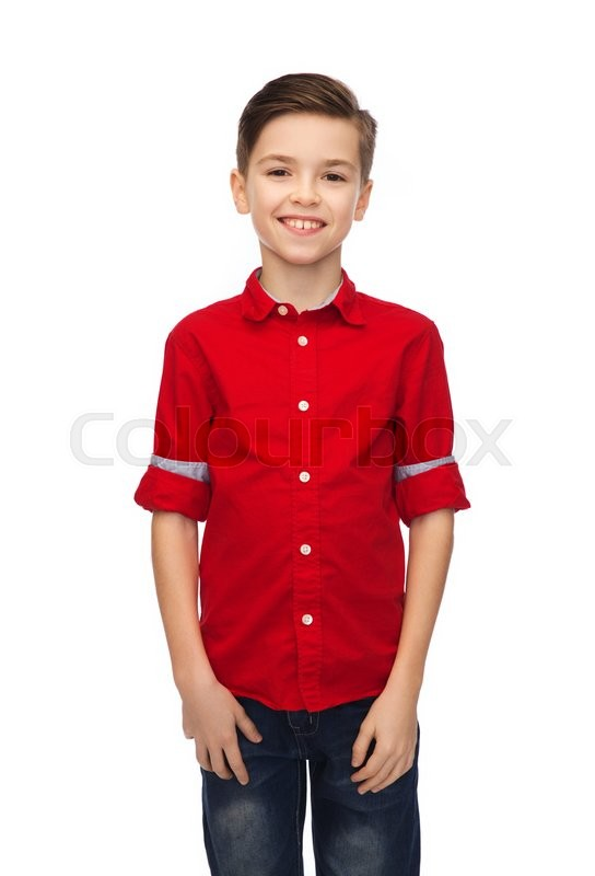 Stock image of 'childhood, fashion and people concept - happy smiling boy in red shirt'
