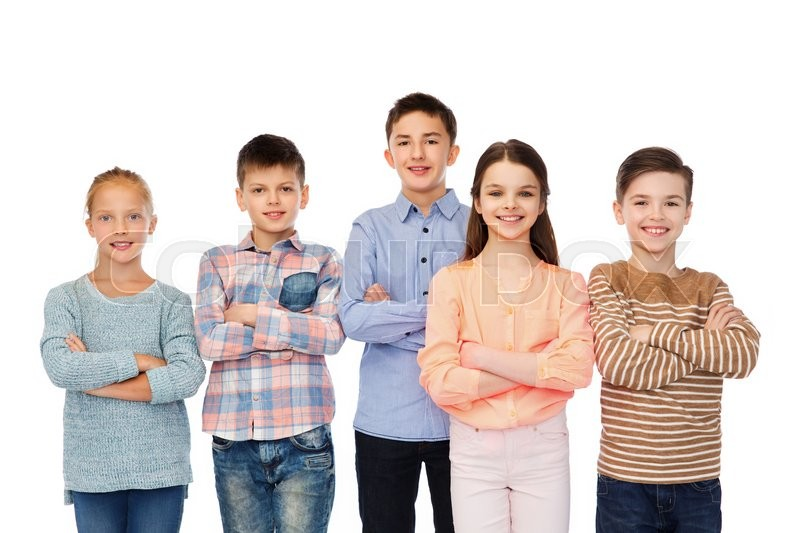 Stock image of 'childhood, fashion, friendship and people concept - happy smiling children'