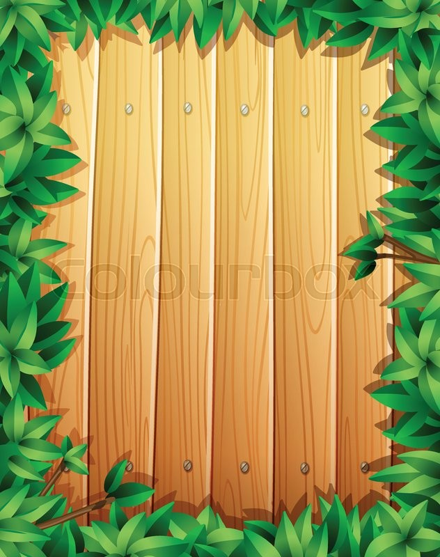 Border design with green leaves on wooden wall illustration vector