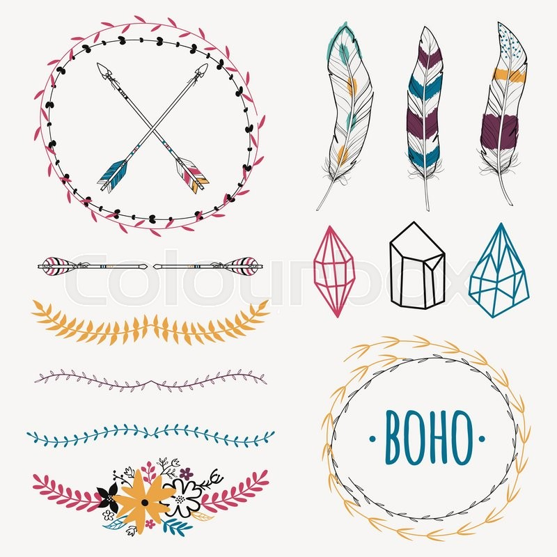 Vector colorful ethnic set with arrows, feathers, crystals, floral ...