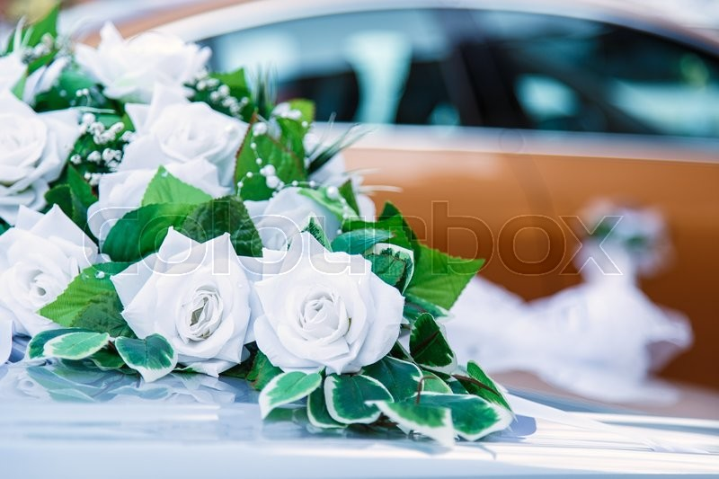 Stock image of 'flowers white roses wedding car decoration'