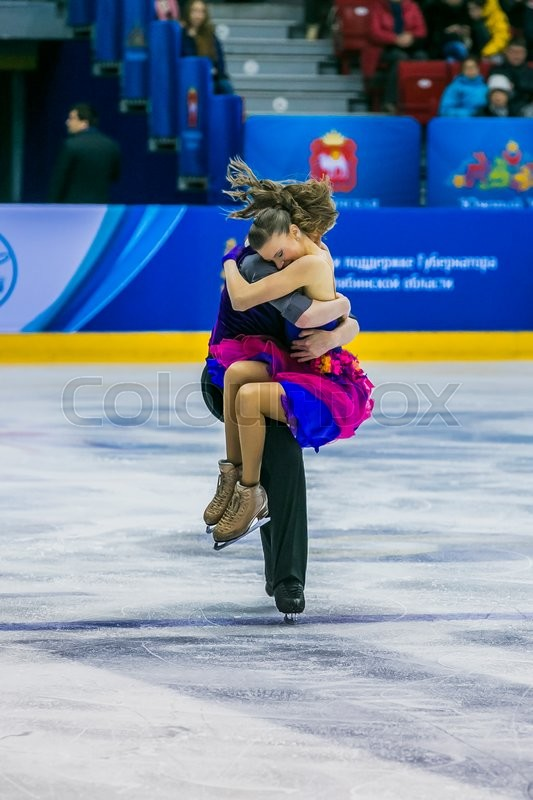 Editorial image of 'Chelyabinsk, Russia -  January 21, 2016: finish performance young skaters, men and women in short program during Championship of Russia figure skating juniors'