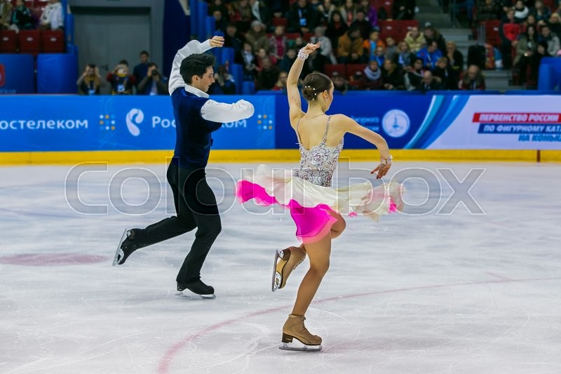 Editorial image of 'Chelyabinsk, Russia -  January 21, 2016: performance of young skaters athletes in pairs short program during Championship of Russia figure skating juniors'