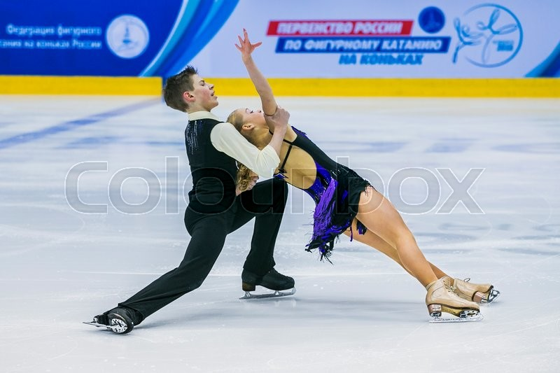 Editorial image of 'Chelyabinsk, Russia -  January 21, 2016: performances young figure skaters in pair skating short program during Championship of Russia figure skating juniors'