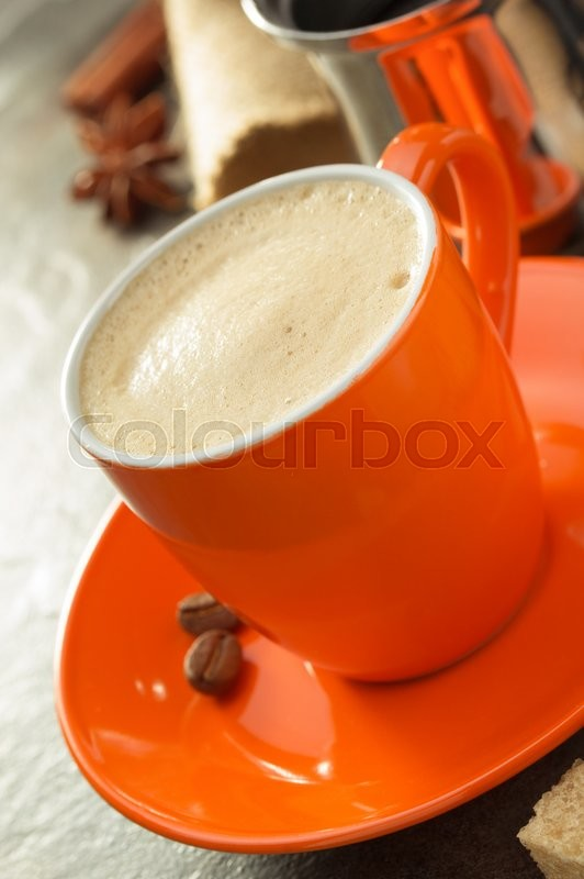 Stock image of 'cup of coffee on table'