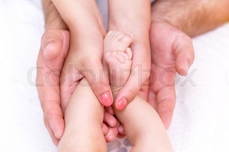 Hand Dad Mom Baby Family Stock Photo Colourbox