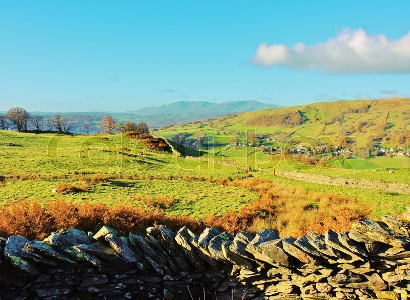 Stock image of 'A peaceful image from the Troutbeck Valley in the English Lake District.'