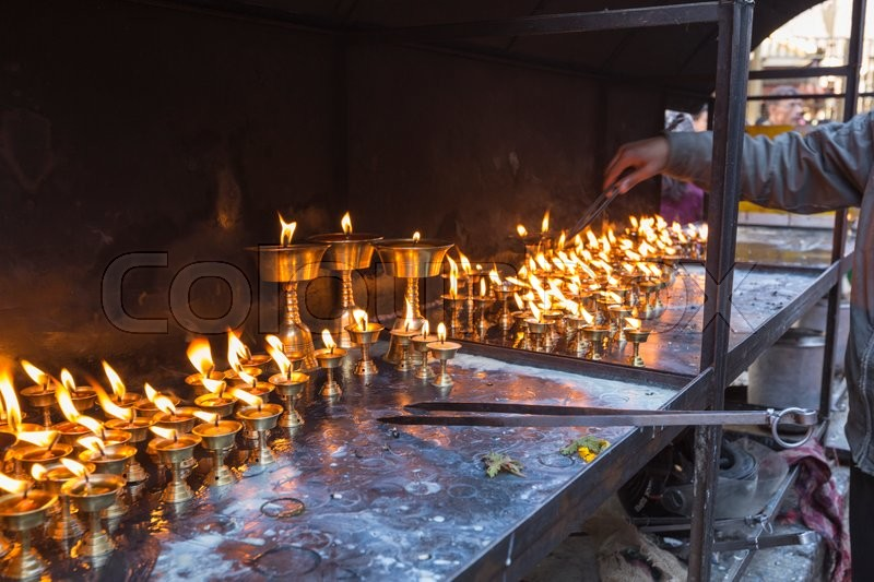 Stock image of 'Candles at swayambhunath temple in Kathmandu, Nepal\\ '