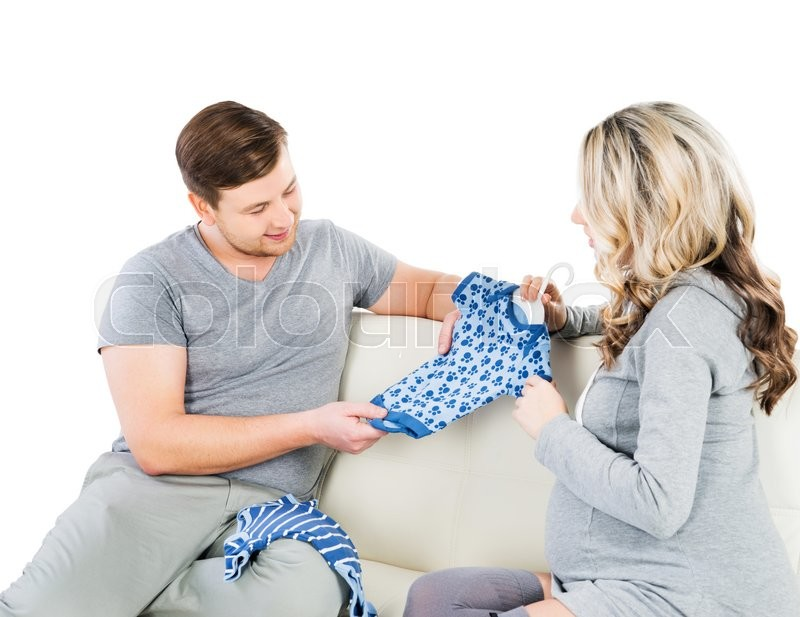 Stock image of 'Young family bought a babygro.'