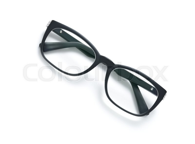 Stock image of 'Black frame eyeglasses isolated on white background'