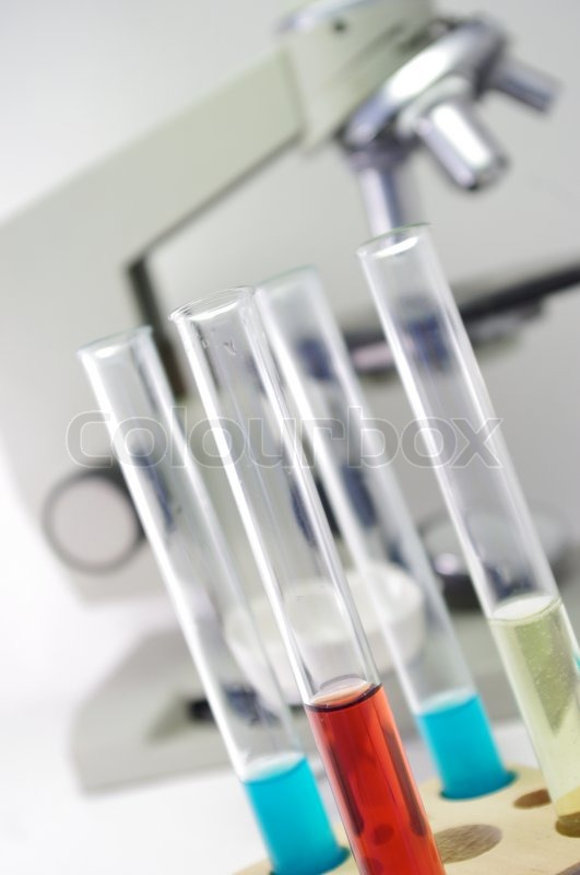 Image of close up of chemistry laboratory equipment test tubes
