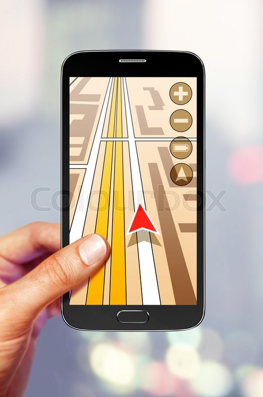 Stock image of 'Navigation on the smartphone screen for tourist'