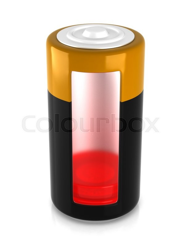 Stock image of 'A battery model with semitransparent glassy side'