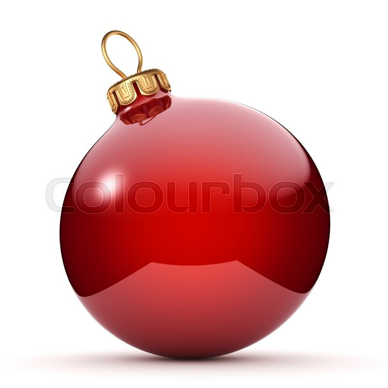 Stock image of 'Red glossy christmas ball on  white background'
