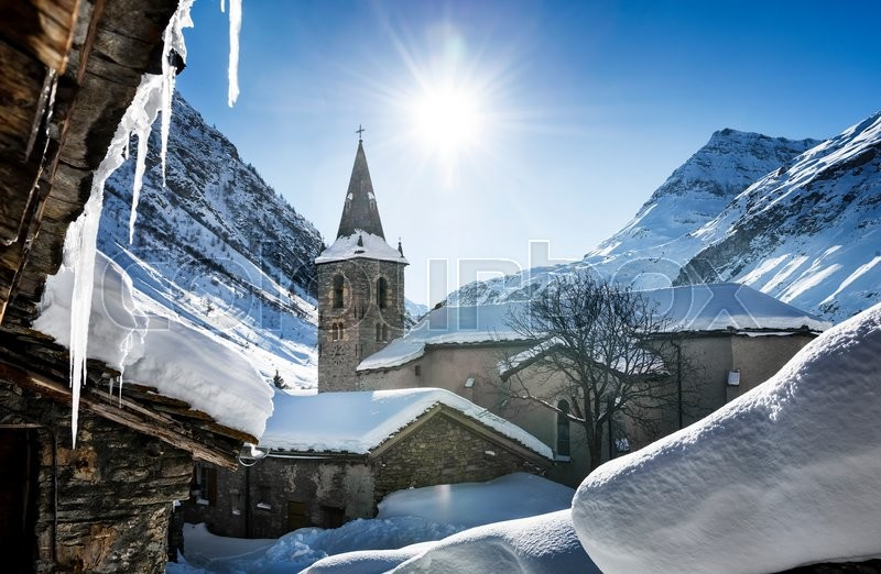 Stock image of 'Old village Bonneval-sur-Arc in winter, Savoie, Vanoise, France'