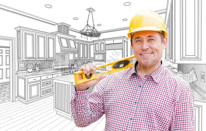 Stock image of 'Smiling Contractor in Hard Hat with Level Over Custom Kitchen Drawing.'