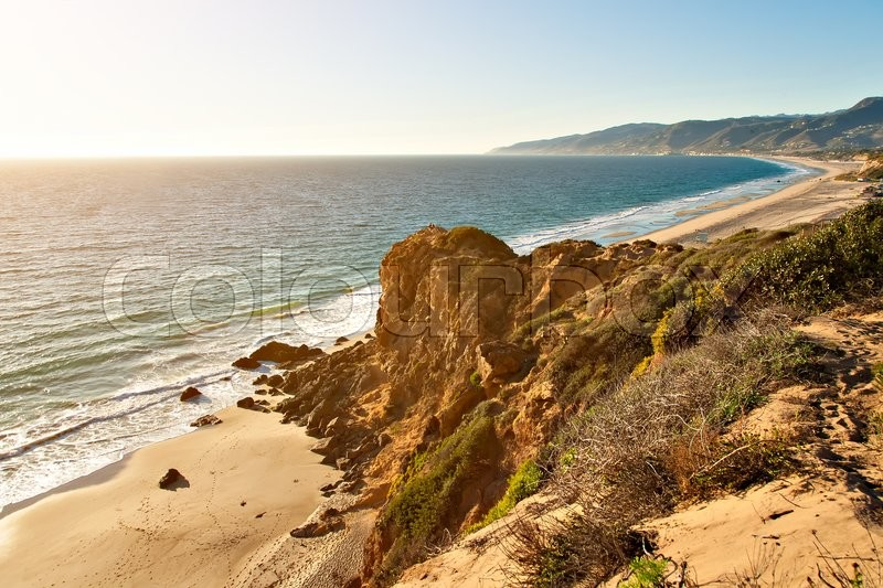 Stock image of 'Rock formation by ocean on Point Dume Beach Malibu California'