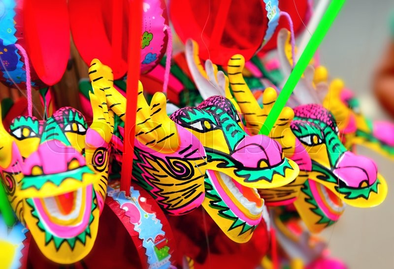 Stock image of 'colorful dragon plastic toy for chinese newyear happy and goodluck'