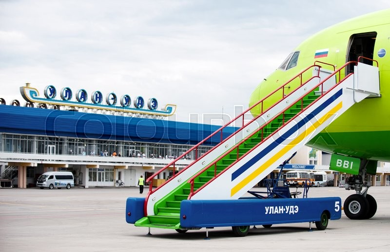 Stock image of 'Some gangway of the plane at the airport Baikal in Russia'