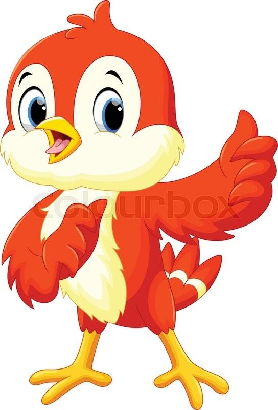 Cute Bird Cartoon Thumb Up