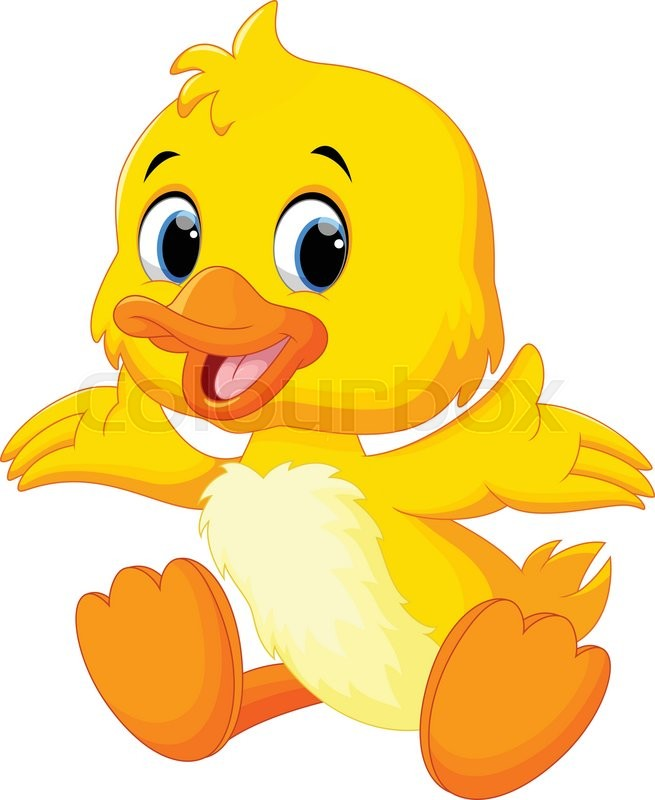 Vector illustration of cute baby duck lifted its wings ...