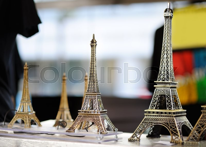 Stock image of 'Eiffel tower souvenirs for sale in Paris, France'