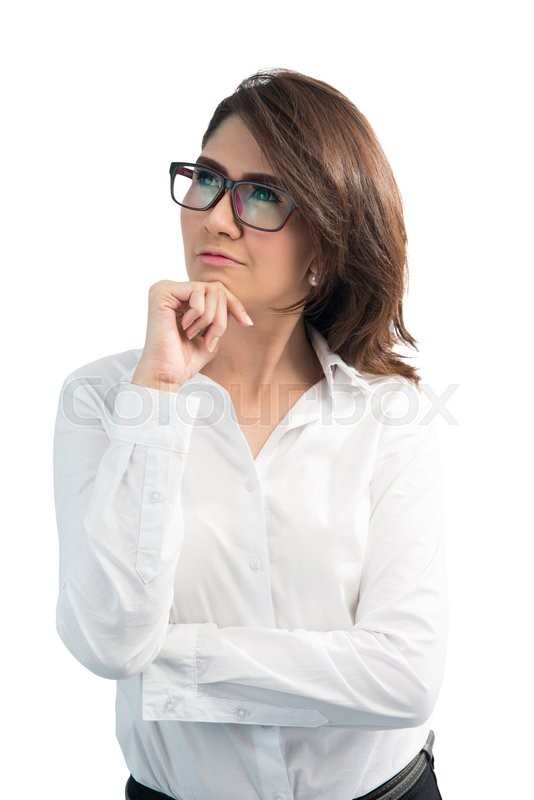 Stock image of 'business woman in glasses , asian woman,isolated over white background '