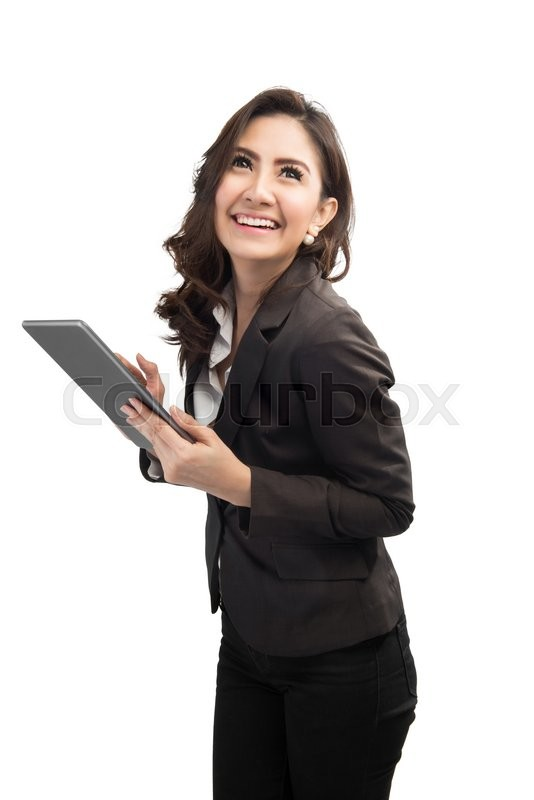 Stock image of 'Beautiful modern business woman holding tablet computer'