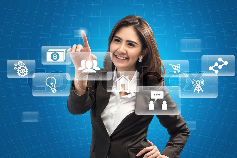 Stock image of 'Picture of attractive businesswoman touching virtual screen - business concept'
