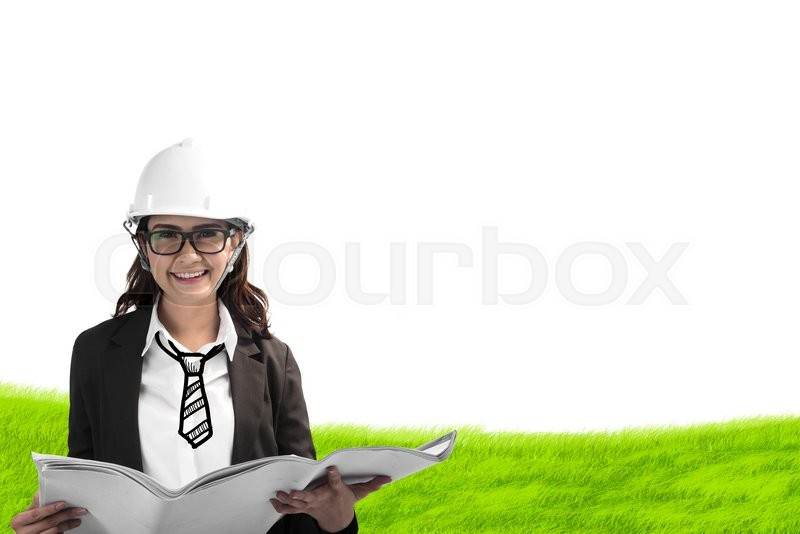 Stock image of 'Happy asian female architect in protective helmet and blueprint on grass field'