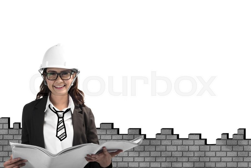 Stock image of 'Happy asian female architect in protective helmet and blueprint with brick wall background'