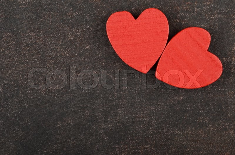 Stock image of 'Heart on leather background, card for Valentine's day'