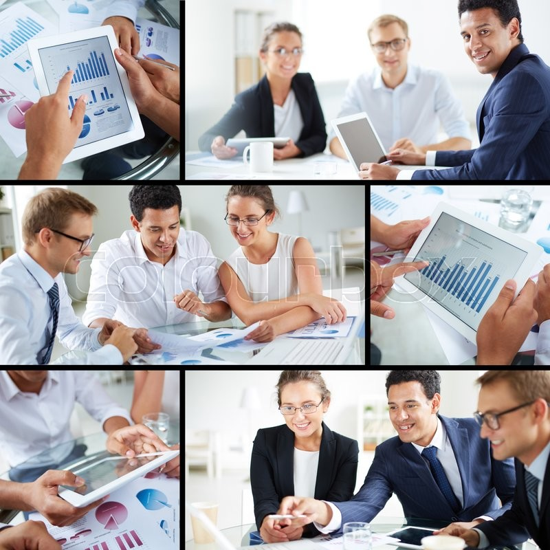 Stock image of 'Contemporary business partners working in team'