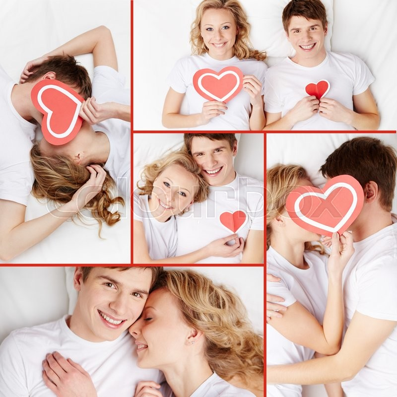 Stock image of 'Collage of happy young valentines'
