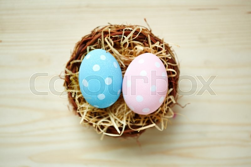 Stock image of 'Two Easter eggs with polka-dot decor'